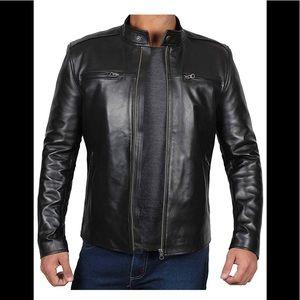 💡 Real leather black moto jacket new